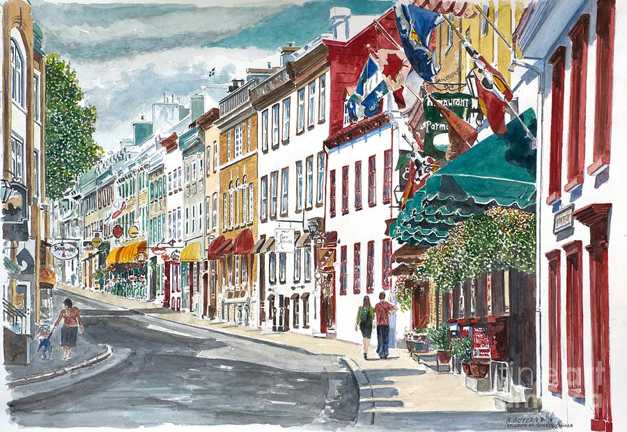 Quebec Old City Canada Painting  - Quebec Old City Canada Fine Art Print