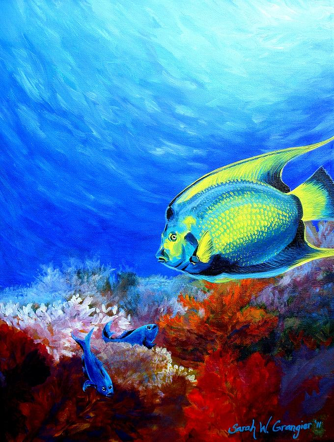 Queen Angelfish And Damsels Painting - 148.4KB