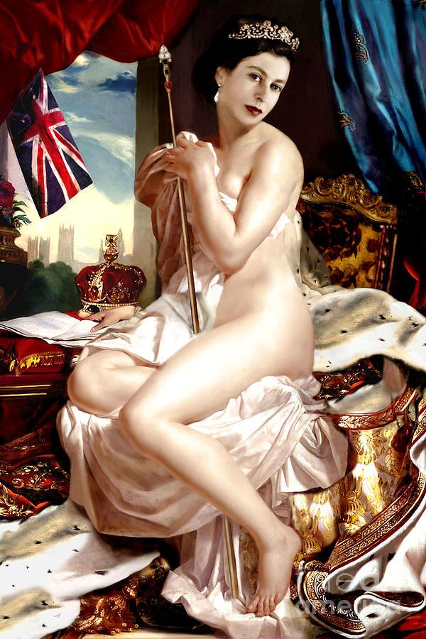 Queen Painting - Queen Elizabeth II Nude Portrait by Karine Percheron-Daniels