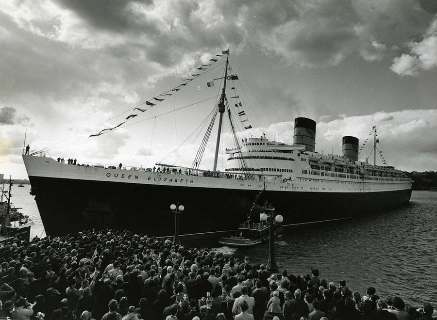 Queen Elizabeth Ship In Harbor By Barney Stein Photograph