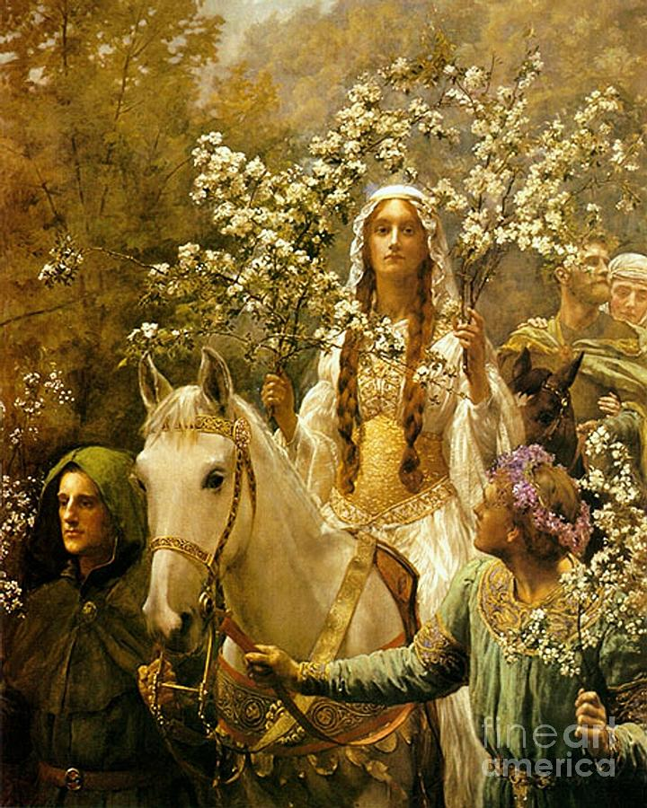 Queen Guinevere - Maying Painting  - Queen Guinevere - Maying Fine Art Print
