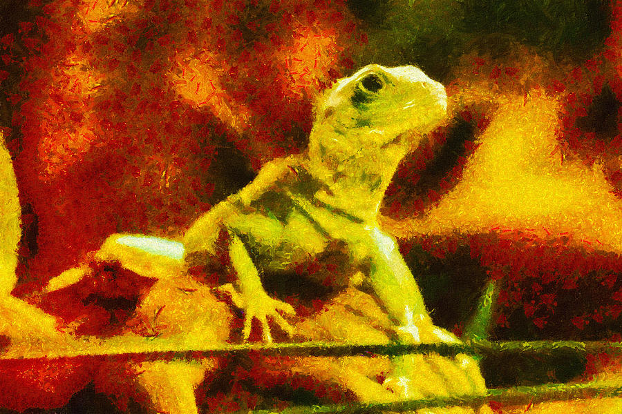 Lizard Painting - Queen Of The Reptiles by Ayse Deniz