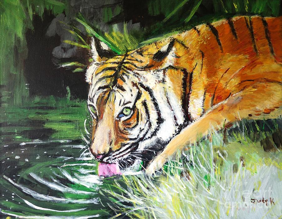 Tiger Painting - Quench by Judy Kay