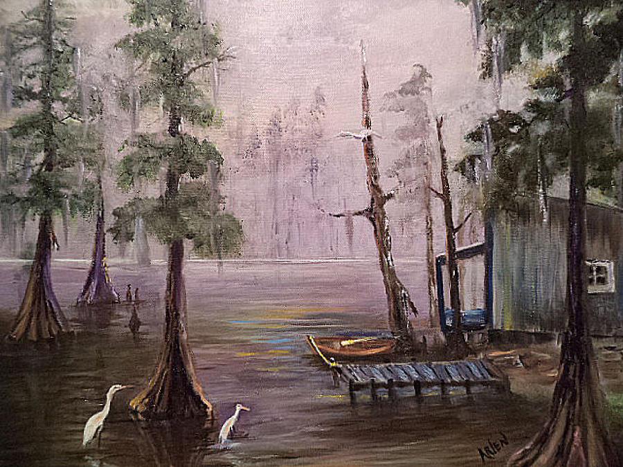 Landscape Painting - Quiet Bayou by Arlen Avernian Thorensen