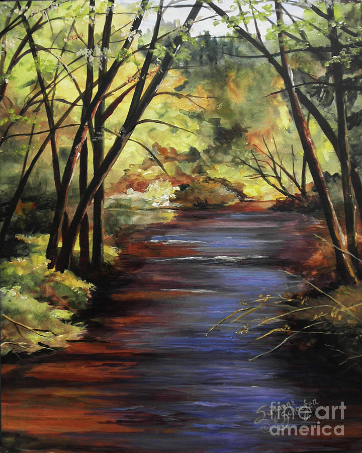 Creek Painting - Quiet Retreat by Suzanne Schaefer