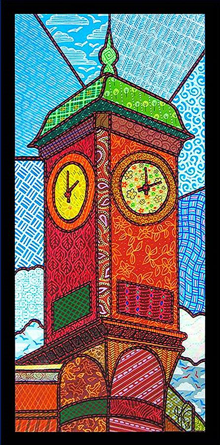 Quilted Clock Tower Painting  - Quilted Clock Tower Fine Art Print
