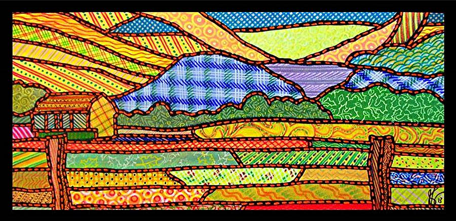 Quilted Massanutten Sunset Painting  - Quilted Massanutten Sunset Fine Art Print