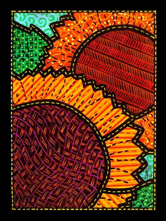 Quilted Sunflower Duo Painting