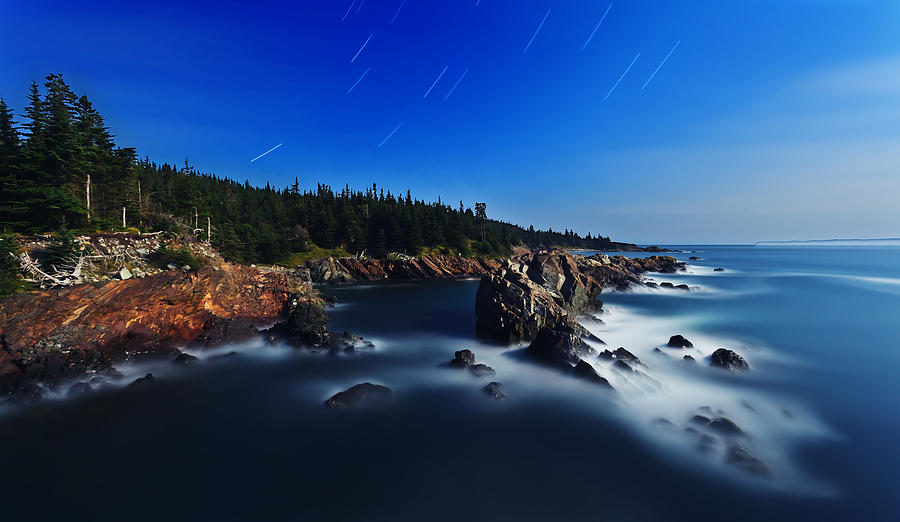 Nature Photograph - Quoddy Coast By Moonlight by Bill Caldwell -        ABeautifulSky Photography