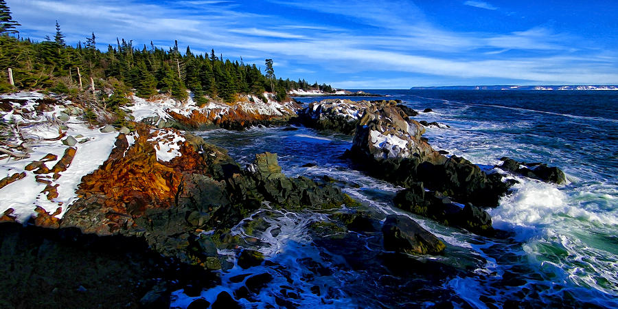 Quoddy Coast With Snow Photograph