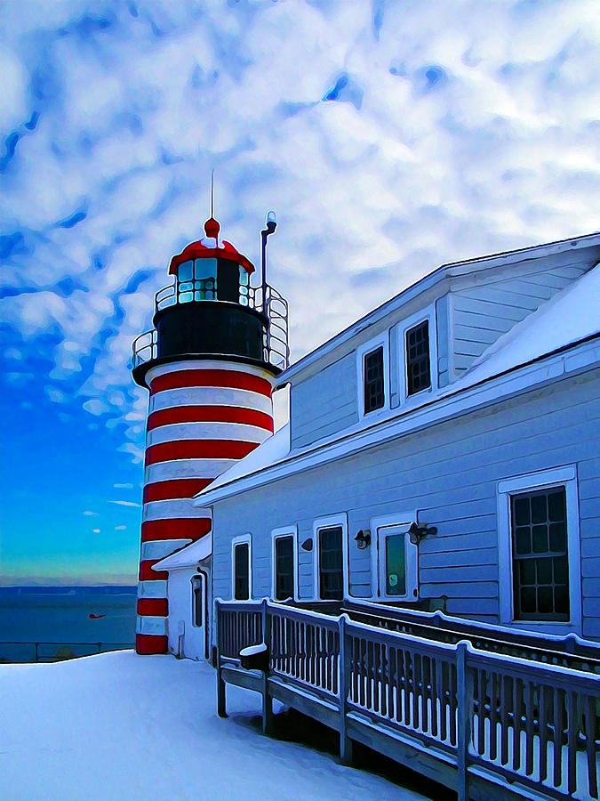 Quoddy Head Lighthouse In Winter 2 Photograph  - Quoddy Head Lighthouse In Winter 2 Fine Art Print