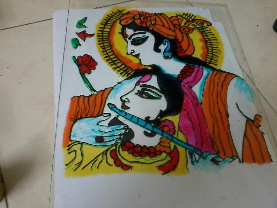 Raadha- Krishna Glass Art