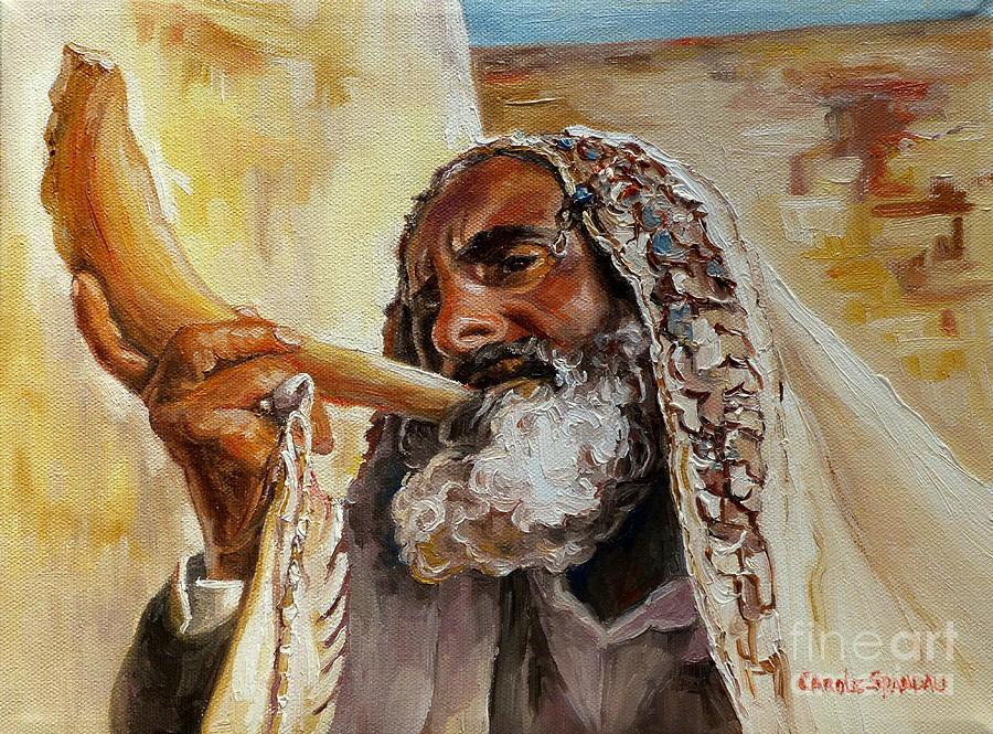 Rabbi Blowing Shofar Painting