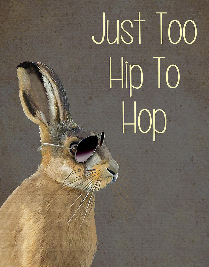 Rabbit Too Hip To Hop Grey Digital Art  - Rabbit Too Hip To Hop Grey Fine Art Print