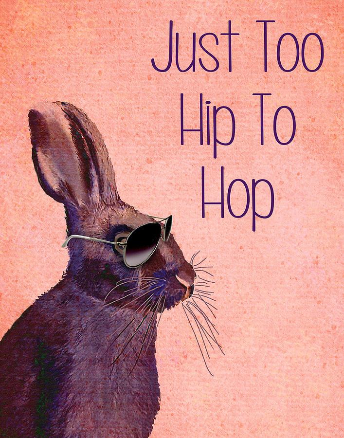 Rabbit Too Hip To Hop Pink Digital Art