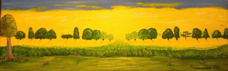 Landscape Painting - Rabbits Love The Sun by Scott Wilmot