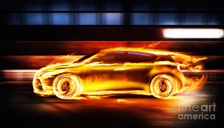 Car Flames: Race Car In Burning Flames In A Tunnel Photograph By
