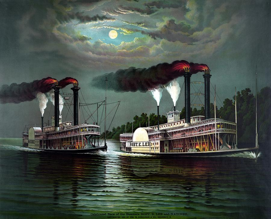 Race Of The Steamers Robert E Lee And Natchez Painting  - Race Of The Steamers Robert E Lee And Natchez Fine Art Print