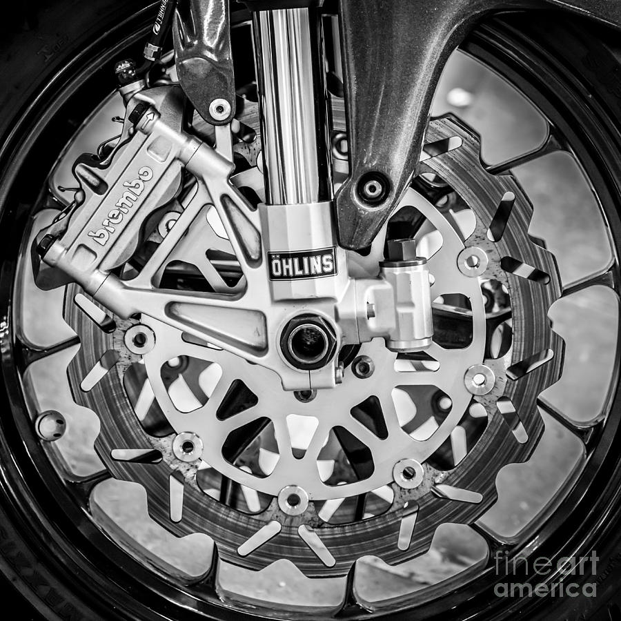 Black And White Photograph - Racing Bike Wheel With Brembo Brakes And Ohlins Shock Absorbers - Square - Black And White by Ian Monk