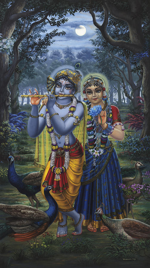 Radha And Krishna On Full Moon Painting  - Radha And Krishna On Full Moon Fine Art Print