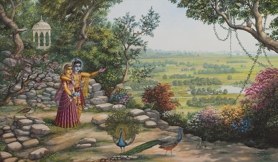Radha And Krishna On Govardhan Painting