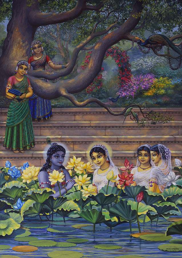 Radha And Krishna Water Pastime Painting  - Radha And Krishna Water Pastime Fine Art Print