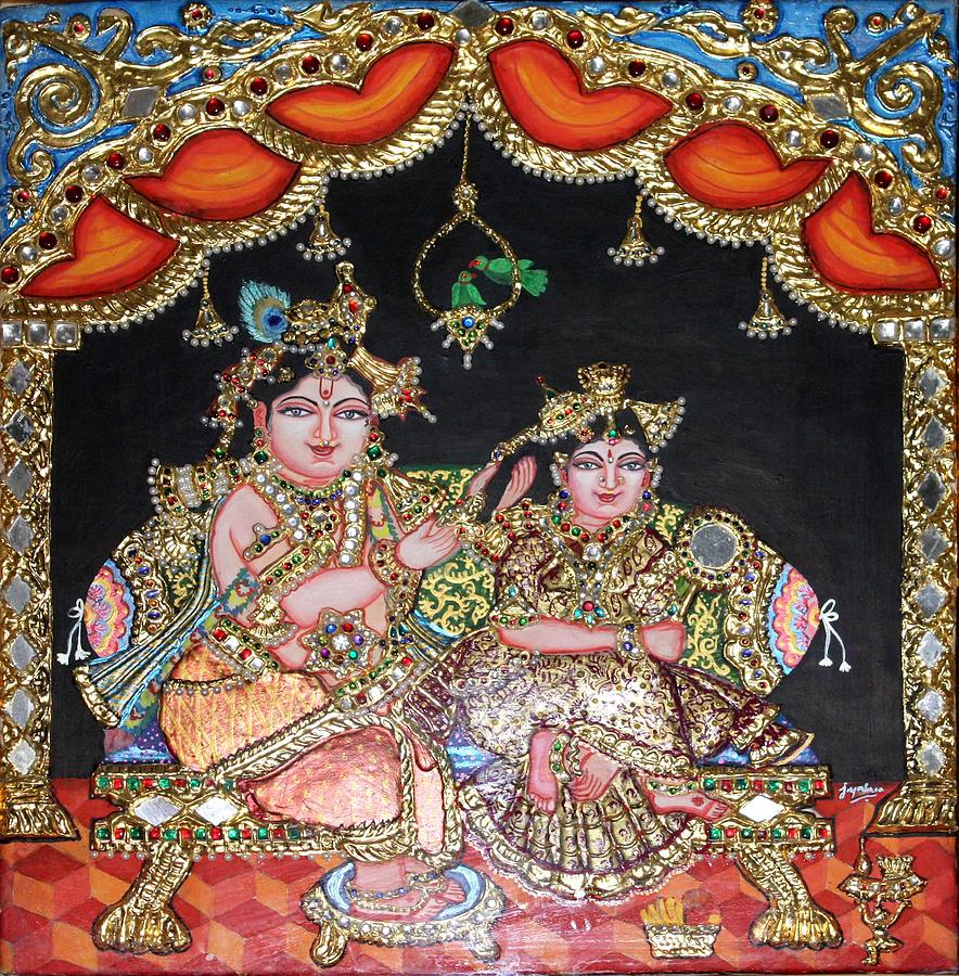 Tanjore Painting - Radha Krishna by Jayashree