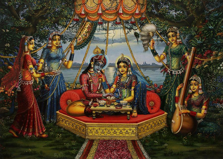 Krishna Painting - Radha Krishna Taking Meal   by Vrindavan Das