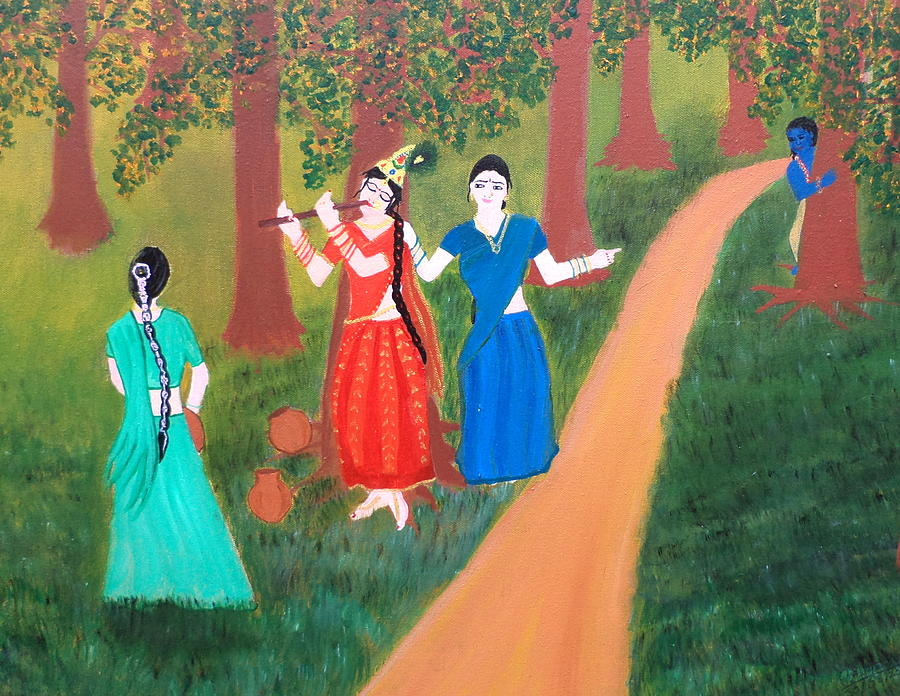 Radha Playing Krishna Painting