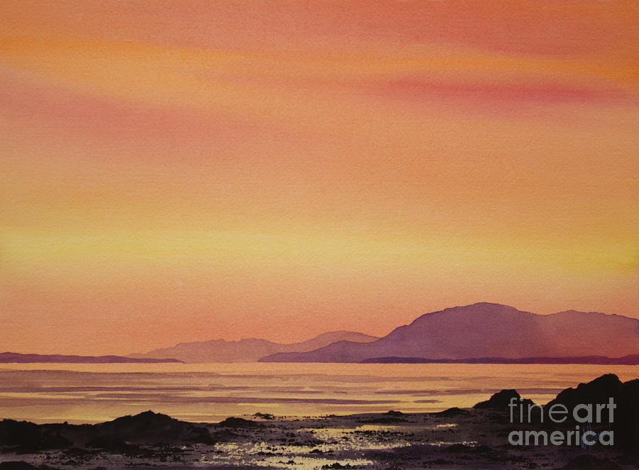 Radiant Island Sunset Painting  - Radiant Island Sunset Fine Art Print