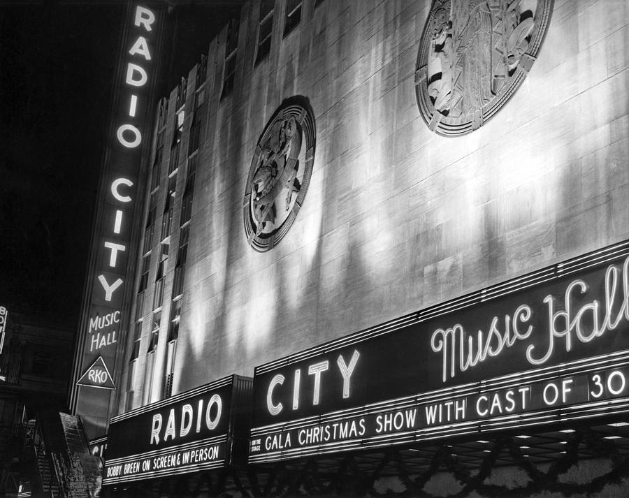 1936 Photograph - Radio City Music Hall Marquee by Underwood Archives