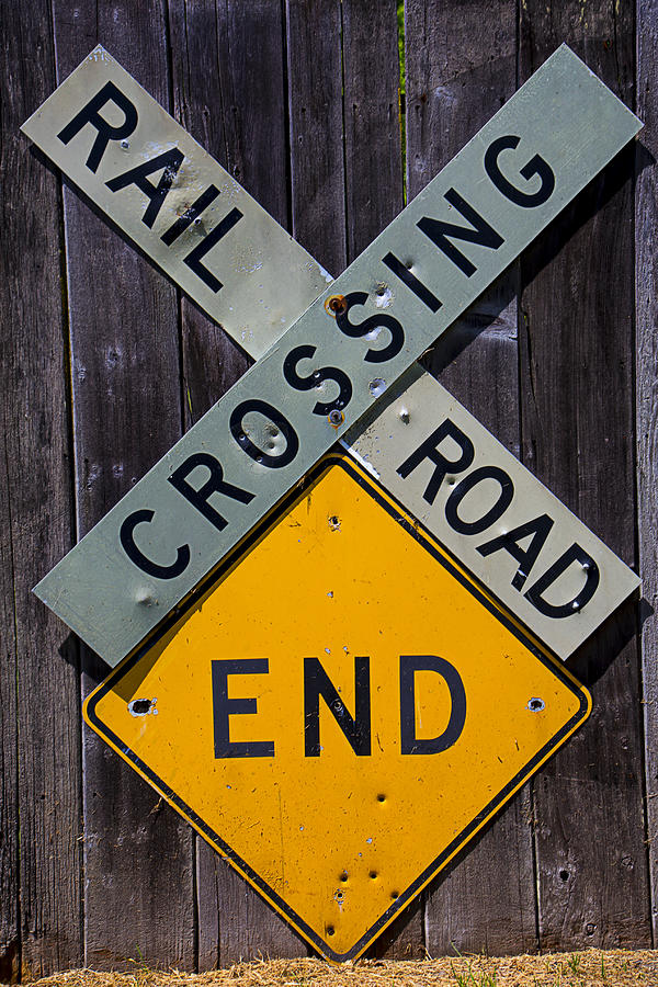 Rail Road Crossing End Sign Photograph