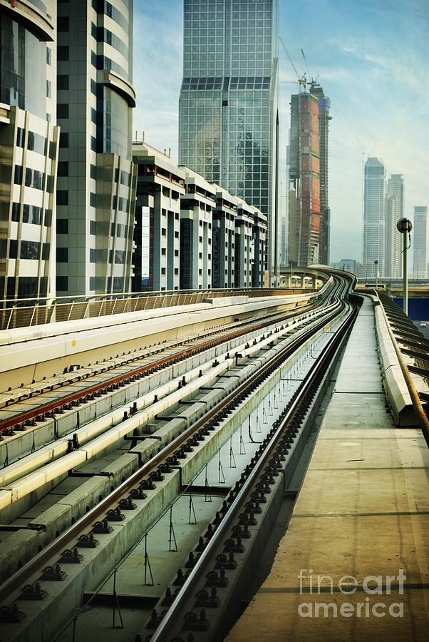 Railroad In Dubai Pyrography