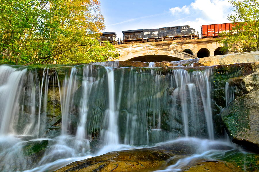 Railroad Photograph - Railroad Waterfall by Frozen in Time Fine Art Photography