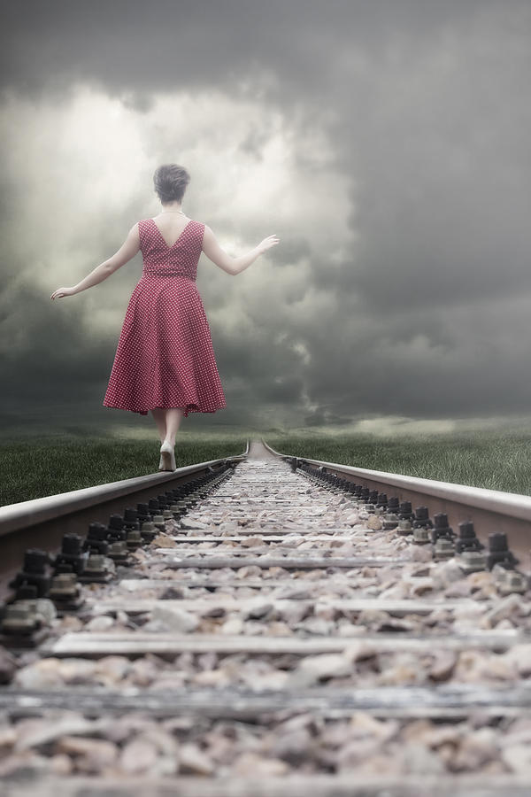 Woman Photograph - Railway Tracks by Joana Kruse