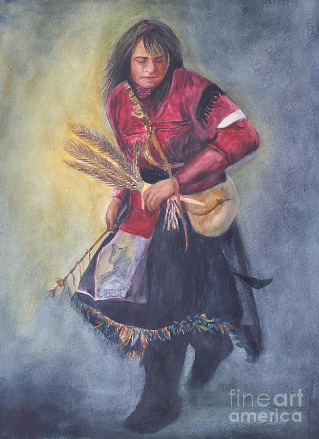 Native Indian Painting - Rain Dance by Kyong Burke