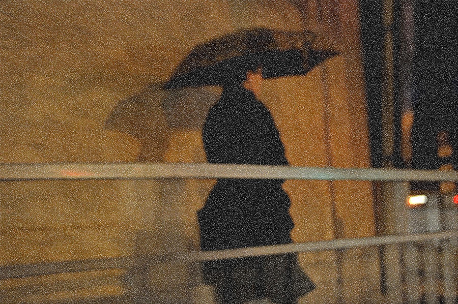 Rain. Lady In Black. Impressionism. Tnm Photograph
