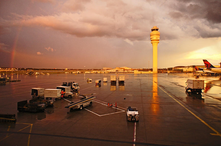Rainbow And Airport  Photograph  - Rainbow And Airport  Fine Art Print