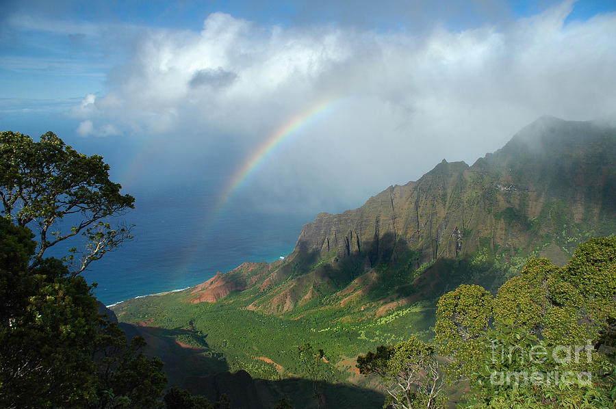 Rainbow At Kalalau Valley Photograph  - Rainbow At Kalalau Valley Fine Art Print