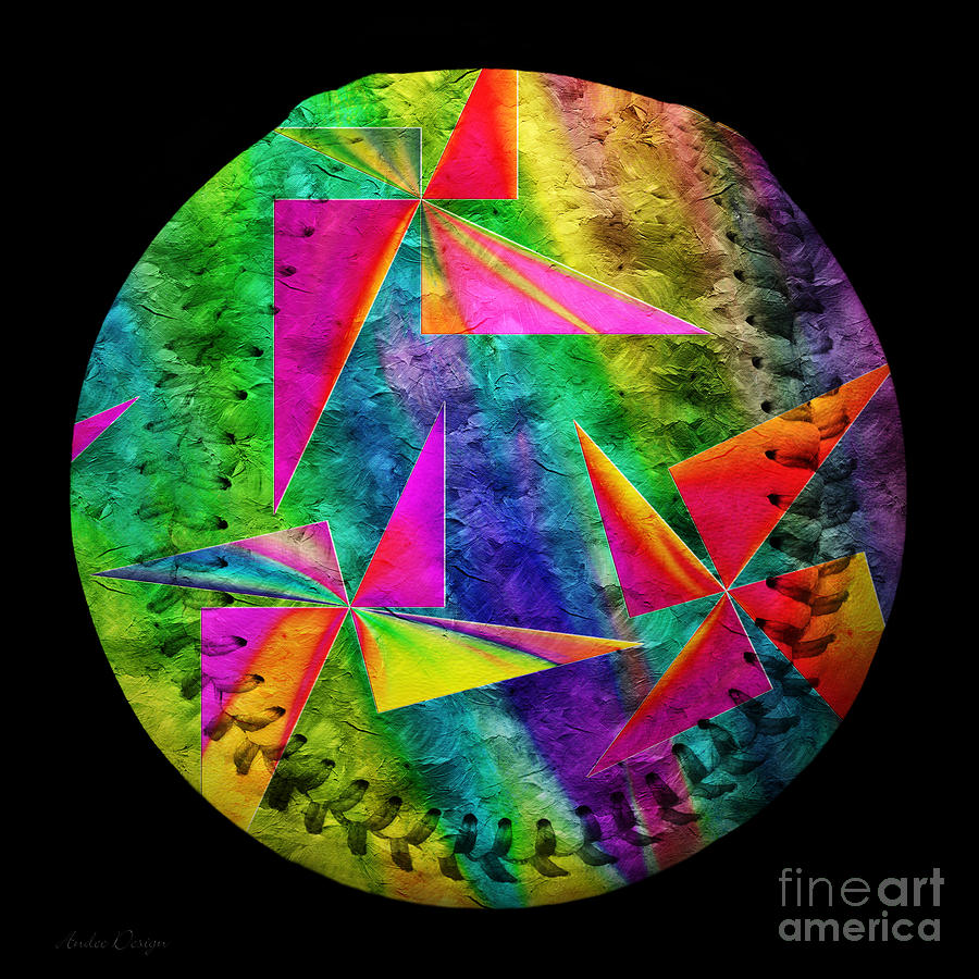 Rainbow Bliss Pinwheels Baseball Square Photograph