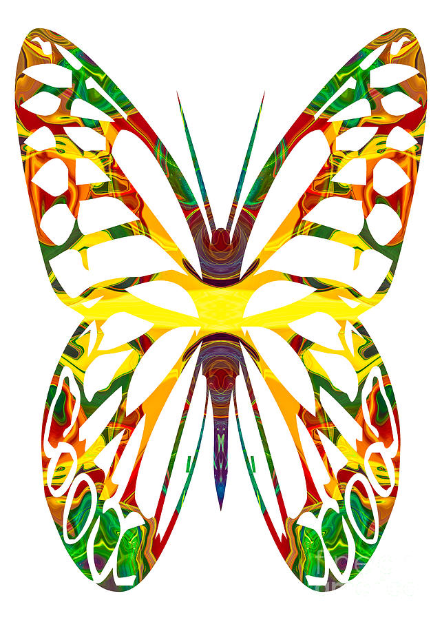 Rainbow Butterfly Abstract Nature Artwork Painting