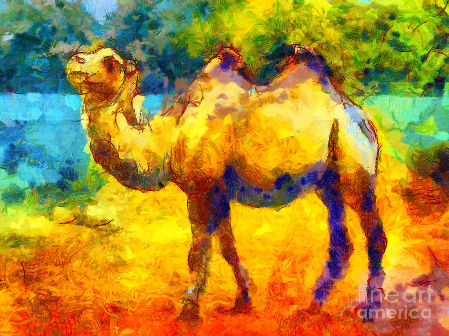 Van Gogh Painting - Rainbow Camel by Pixel Chimp