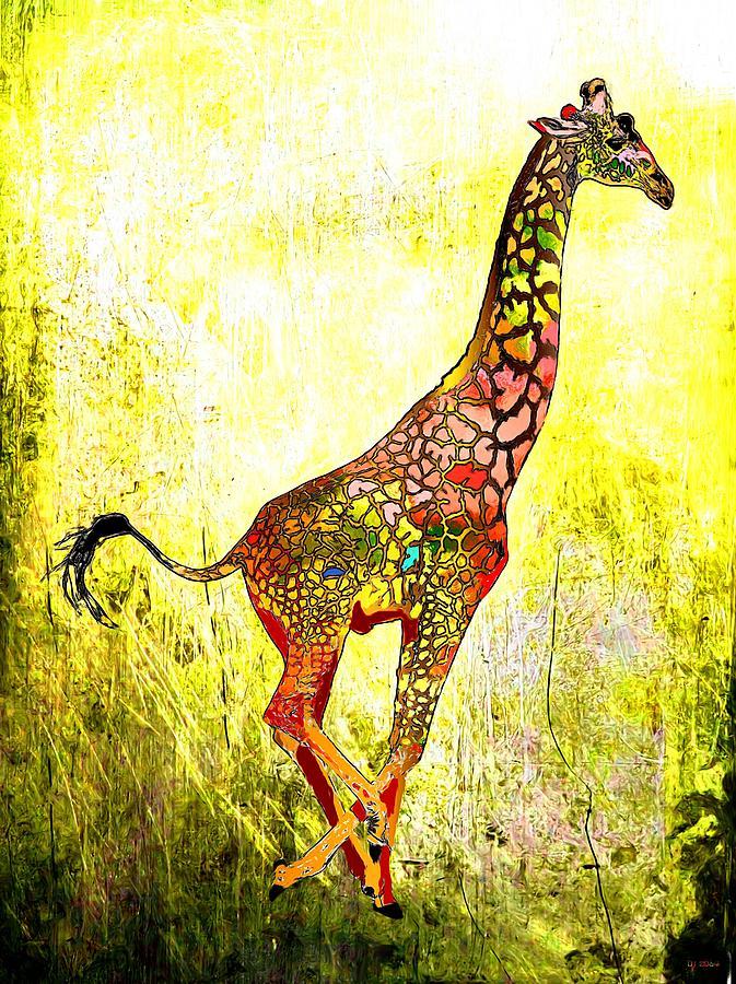 Rainbow Giraffe Painting - Rainbow Giraffe by Daniel Janda