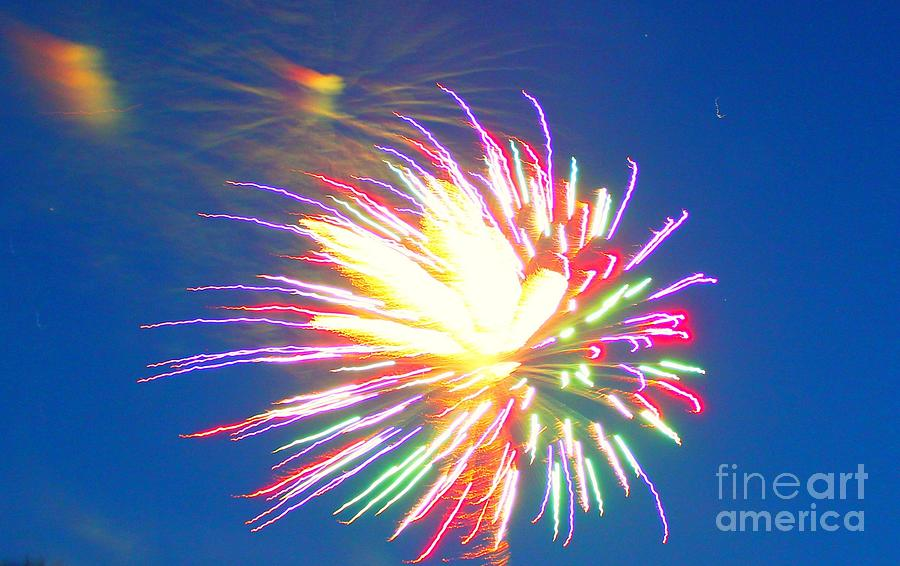 Rainbow Fireworks Celebration Colorful Abstract Image With: Rainbow Of Color Abstract Fireworks Photograph By Judy