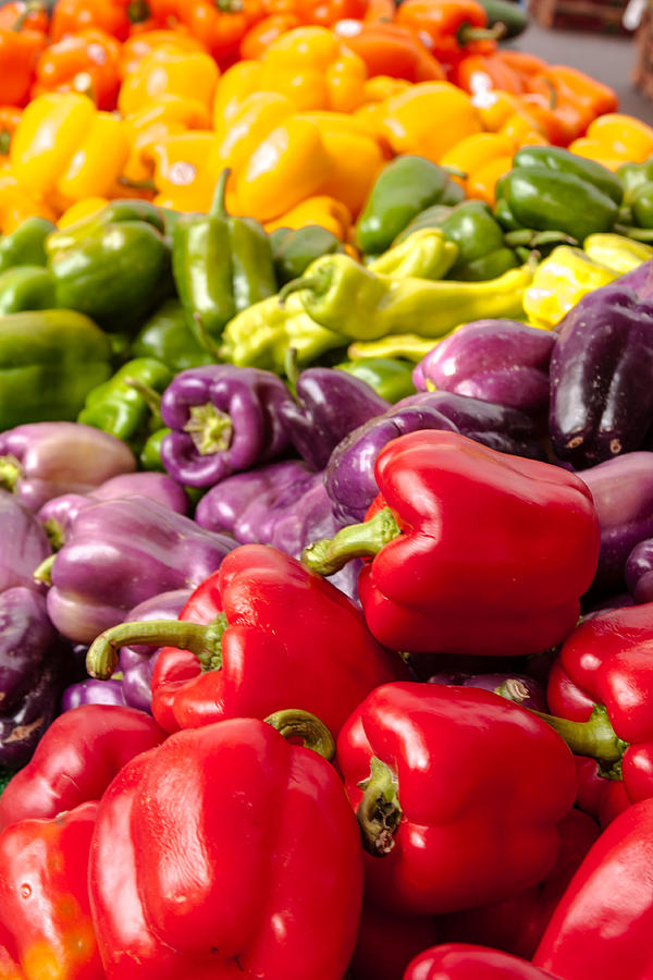 Agriculture Photograph - Rainbow Of Peppers by Teri Virbickis
