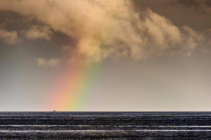 Rainbow Over A Black Ocean Photograph