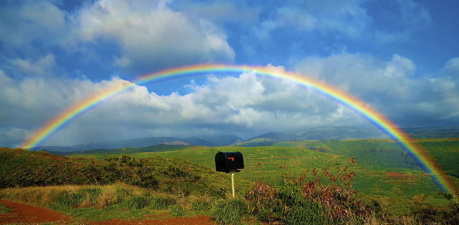 Rainbow Over A Mailbox Photograph