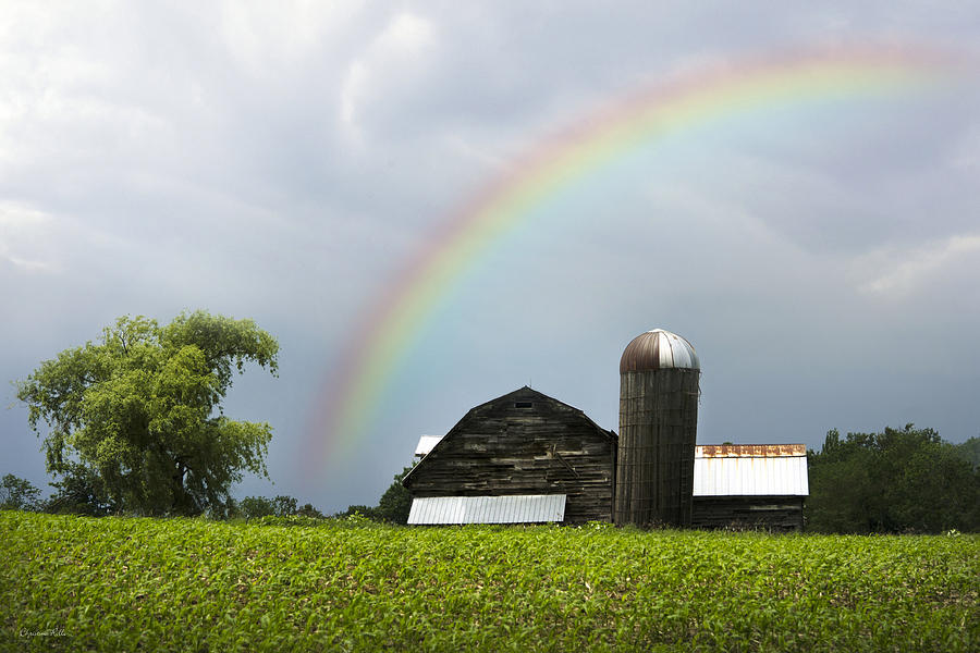Rainbow Over Old Country Barn Photograph