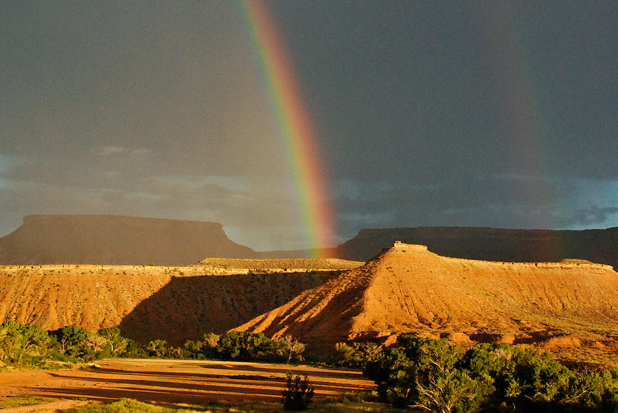 Rainbow Over The Virgin River And Gooseberry Mesa Near Virgin Utah Photograph