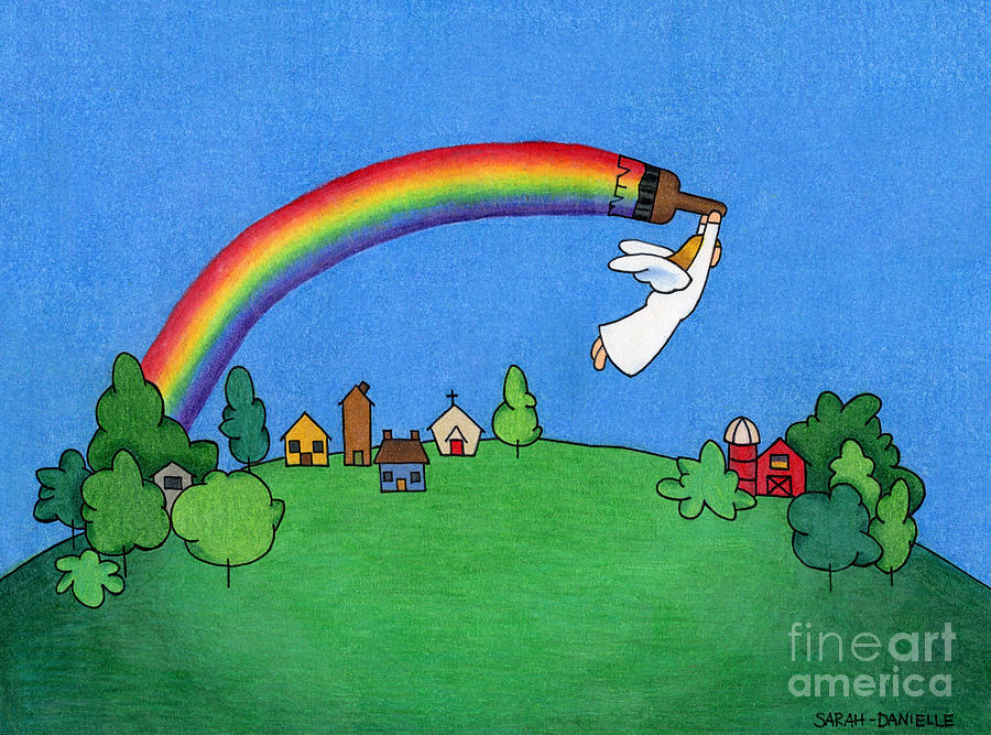 Rainbow Painter Drawing  - Rainbow Painter Fine Art Print